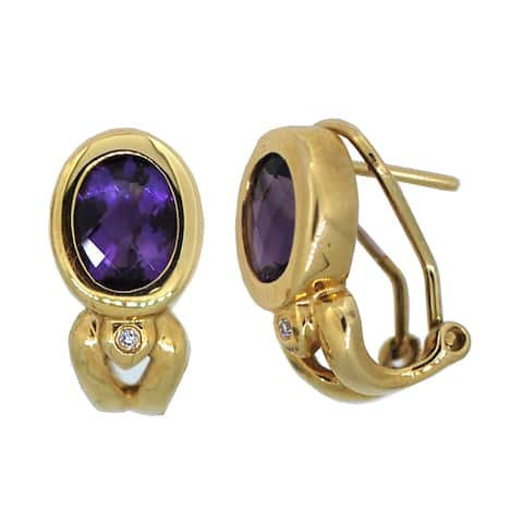 Kabella Birthstone Oval Quilt Cut Amethyst and Diamonds 14k Yellow Gold Earrings