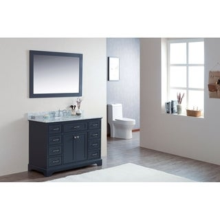"48"" Moana Gray Single Modern Bathroom Vanity with White Marble Top - 48""w x 22""d x 34-1/4""h"