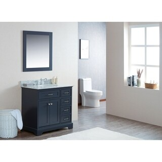 """36"""" Moana Gray Single Modern Bathroom Vanity with White Marble Top and Undermount Sink"""