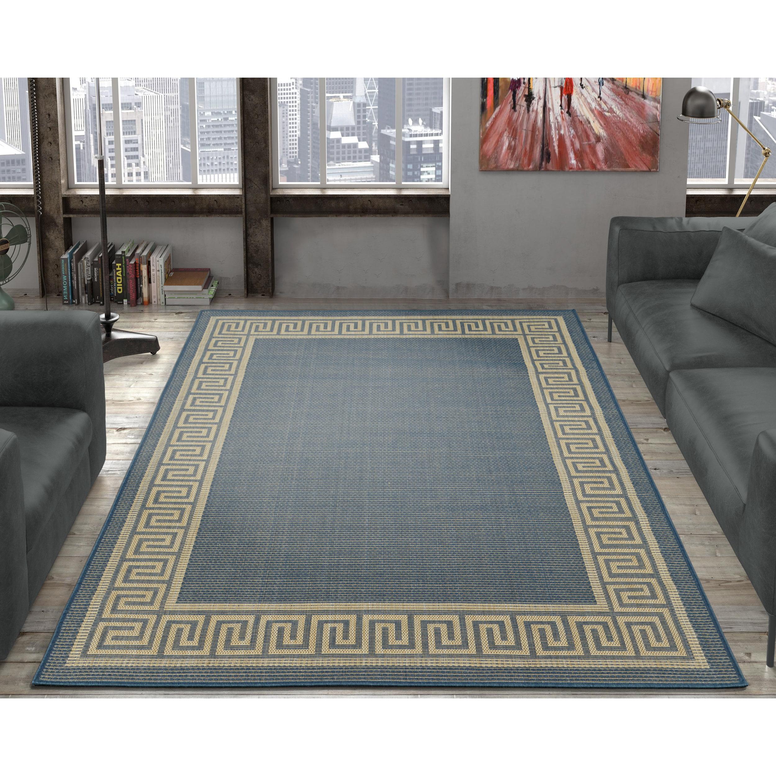 Ottomanson Jardin Collection Greek Border Design Indoor Outdoor Area Rug 5 3 X 7