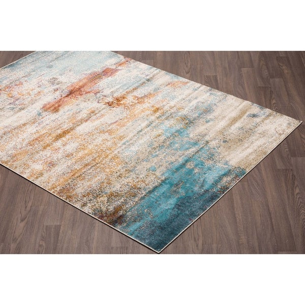 Murano Mordern Abstract Multi-Colored Soft Pile Rug - multi - 2' x 3'