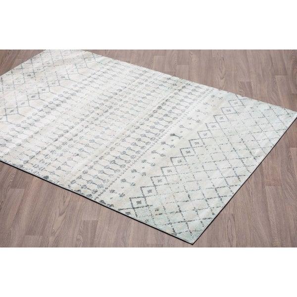 Shop Murano Vintage Tribal Grey Aqua Soft Pile Rug