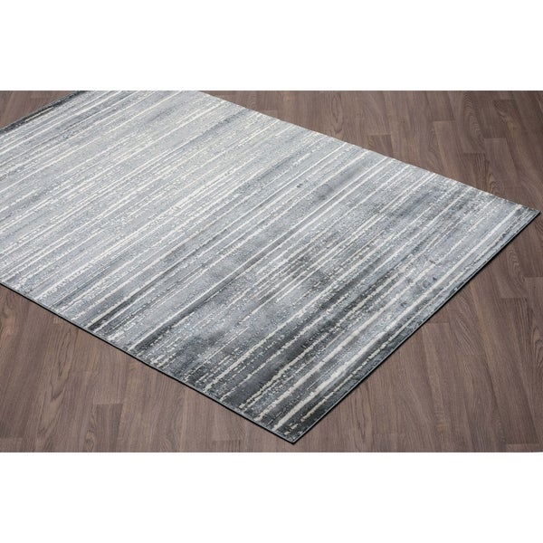 Murano Mordern Stripe Ivory Grey Soft Pile Rug - 2' x 3'