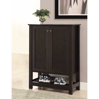 Transitional Wooden Shoe Cabinet With Shelves, Brown