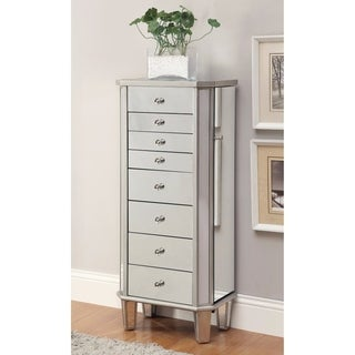 Contemporary Style Jewelry Armoire, Silver