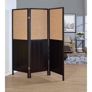 Transitional Stylethree Panel Folding Screen, Black