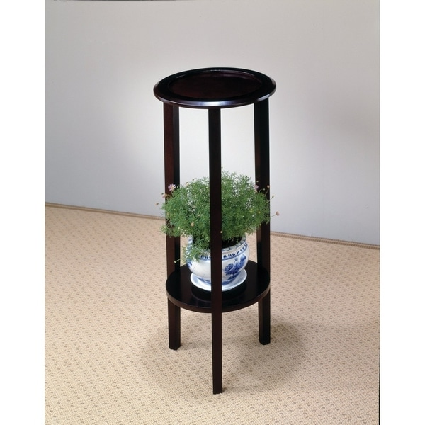 Elegant Plant Stand With Round Top, Brown