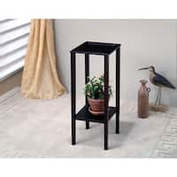 Square Plant Stand With Bottom Storage Shelf, Brown