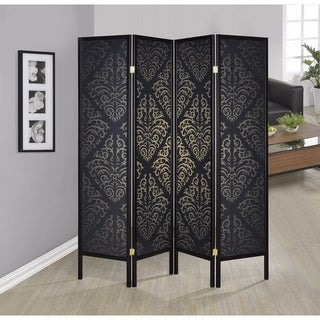 Captivating Four Panel Folding Screen With Damask Print, Black