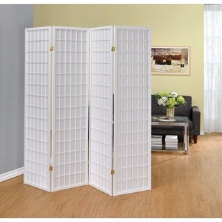 Contemporary Style Four Panel Folding Screen, White