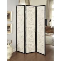 Three Panel Folding Floor Screen with Postal Script Panels, Brown