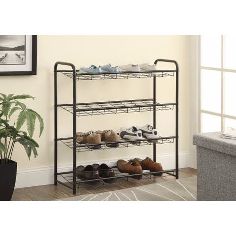 Well-Designed Metal Shoe Rack, Black