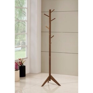 Sturdy Metal Coat Rack with Six Pegs, Brown