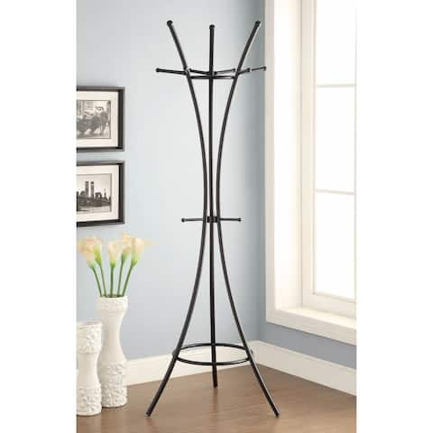 Contemporary Metal Coat Rack With Rubber Tips, Black