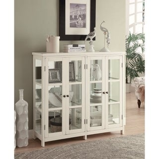 Transitional Style Wooden Accent Display Cabinet , White
