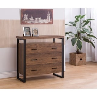 Rectangular Wooden Accent Cabinet With 3 Drawers, Brown