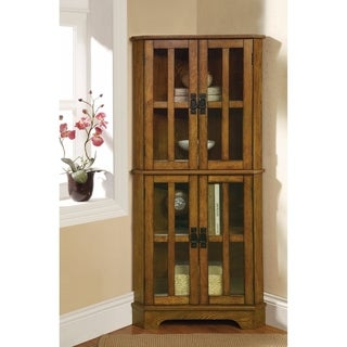 Corner Curio Cabinet With Windowpane-Style Door Fronts, Brown