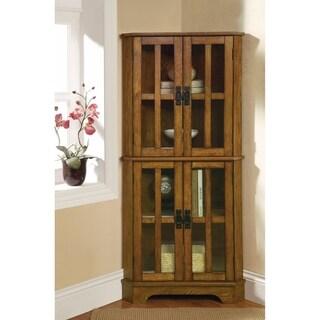 Corner Curio Cabinet With Windowpane-Style Door Fronts, Brown