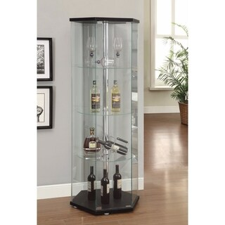 Striking Hexagon Shaped Glass Curio Cabinet, Black And Clear