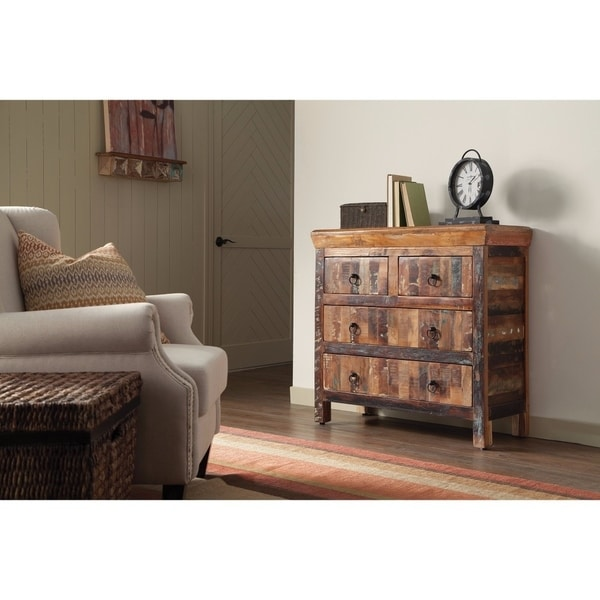 Traditional Wooden Accent Cabinet With Storage Drawers, Brown