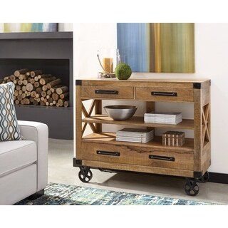 Stylish Wooden Accent Cabinet With Casters, Brown