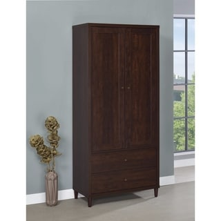 Brown Tall Wooden Accent Cabinet With Doors