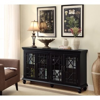 Well-Designed Wooden Accent Cabinet With Lattice Doors, Black