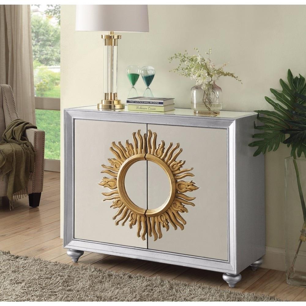 Benzara Mirrored Accent Cabinet With Sun Design, Silver