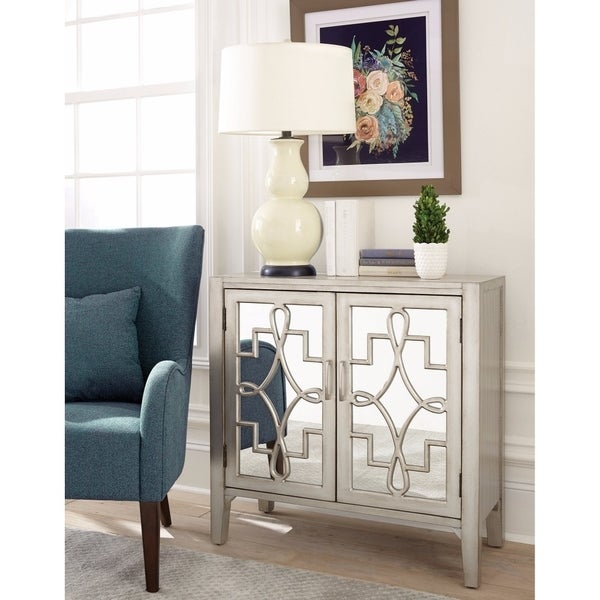 Traditional Style Wooden Accent Cabinet , Silver