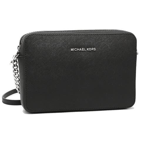 da4907d3df06 brand: Michael Kors · handbag material: Leather · Clear All · 74. MICHAEL  Michael KorsJet Set Travel Large Crossbody Black/Silver Hardware