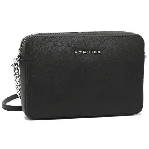 Michael Kors Jet Set Large Black Cross-body Bag w/ Silvertone Hardware