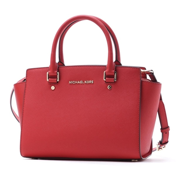shop michael michael kors selma medium satchel bright red free rh overstock com