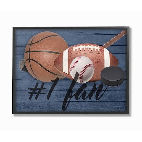 Stupell Industries No. 1 Fan Sports Plank Wall Art