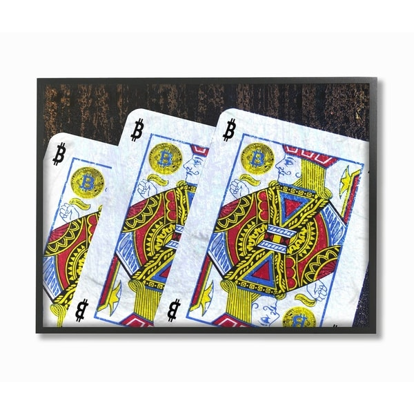 Stupell Industries Bitcoin Playing Cards Wall Art