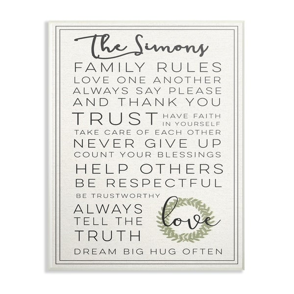 Shop Stupell Industries Family Rules Love Wall Art - 10 x 15 - On ...