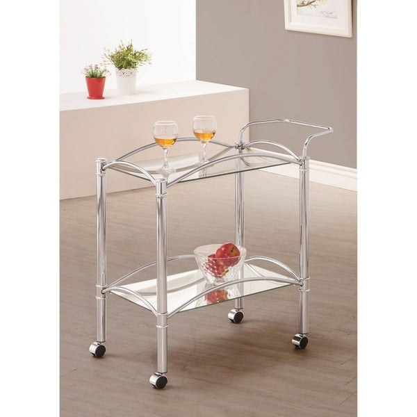 Beautiful Metal Serving Cart, Silver