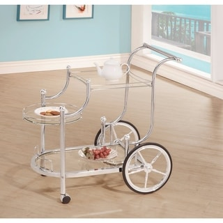 Elegant Metal Frame Serving Cart, Silver