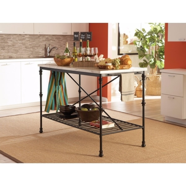 Well-Made Metal Kitchen Cart With Faux Marble Top, Black