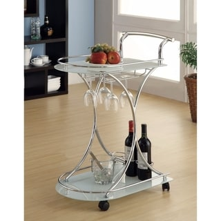 Captivating Serving Cart With 2 Frosted Glass Shelves, Silver