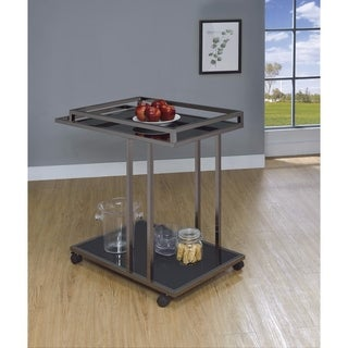 Modern Two Tier Metal And Glass Serving Cart, Black