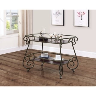 Traditional Serving Cart With Scroll Accents, Bronze