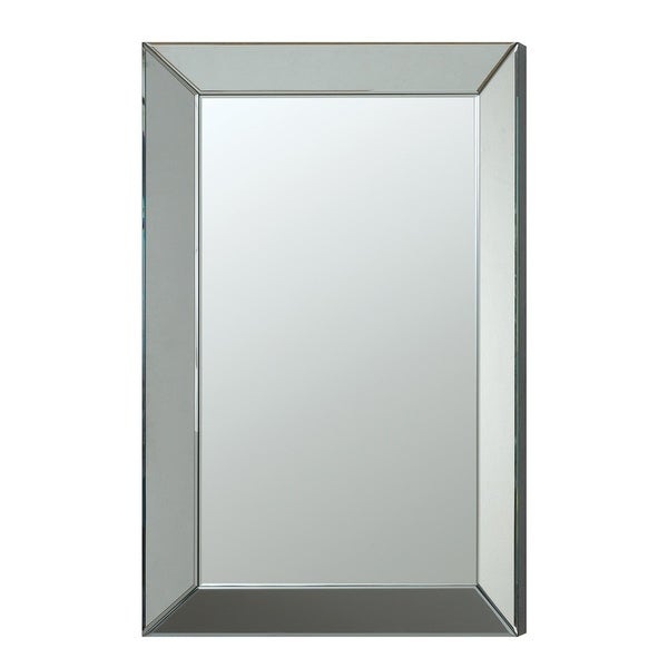 Rectangular Accent Mirror with Wooden Backing, Clear - Silver