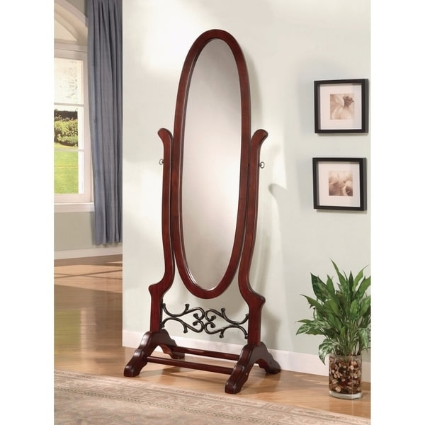 Traditional Style Ova Shaped Cheval Mirror, Brown - Brown Red