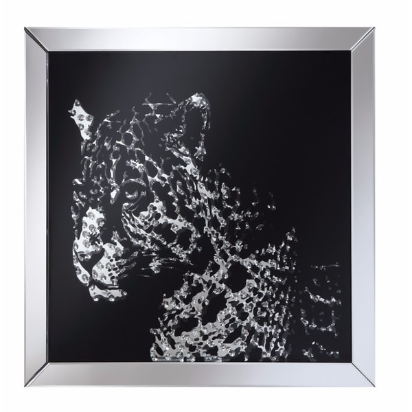Contemporary Style Wall Mirror With Image Of Leopard, Clear And Black - clear and black