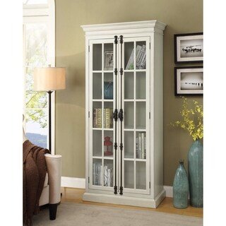 Well-Designed Tall Wood And Glass Cabinet ,White
