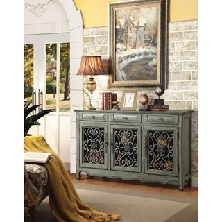 Traditional Wooden Accent Cabinet With 3 Storage Drawers, Green