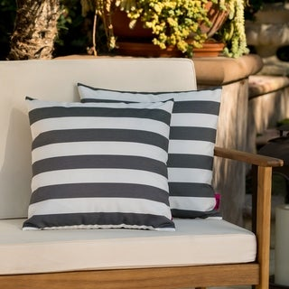 Link to Coronado Outdoor Stripe Pillow (Set of 2) by Christopher Knight Home Similar Items in Outdoor Cushions & Pillows