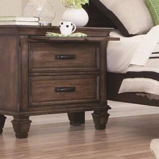 Wooden 2 Drawer Nightstand, Burnished Oak Brown