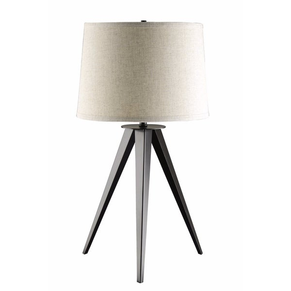 Table Lamp With Tripod Base, Gray And White