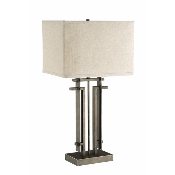 Sturdy Industrial Style Table Lamp, Bronze And White